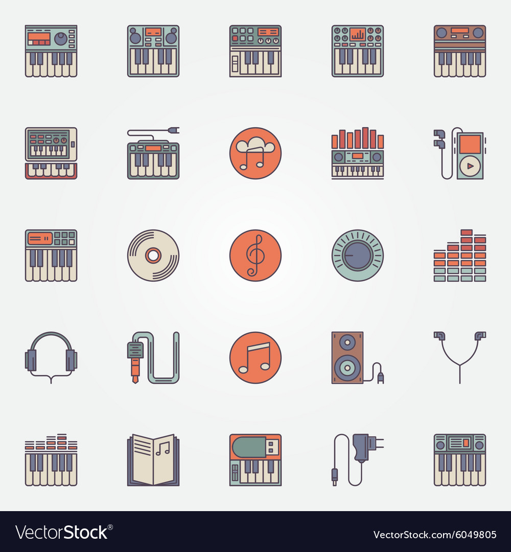 Colorful synthesizer icons