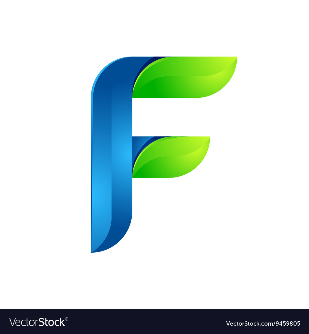 F letter leaves eco logo volume icon