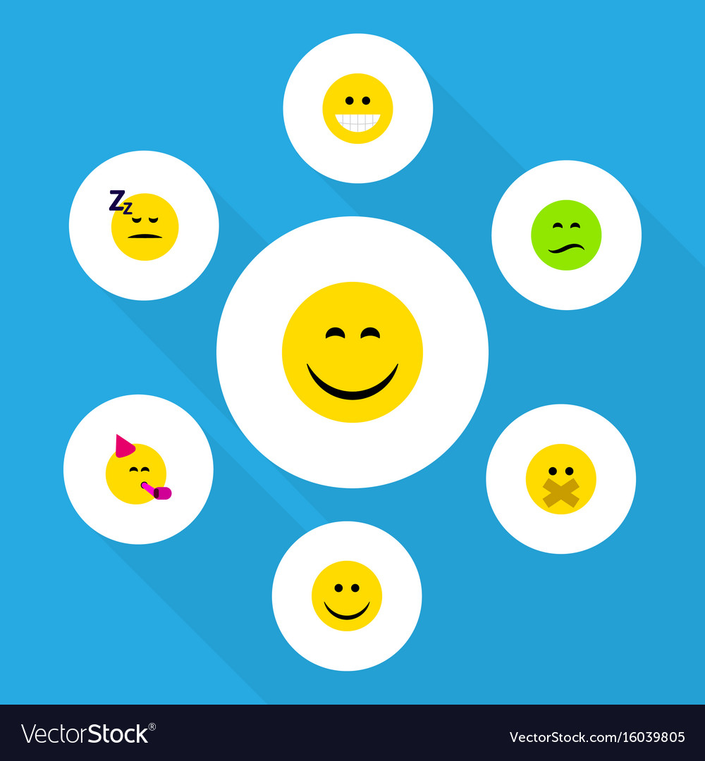 Flat icon expression set of frown smile grin and