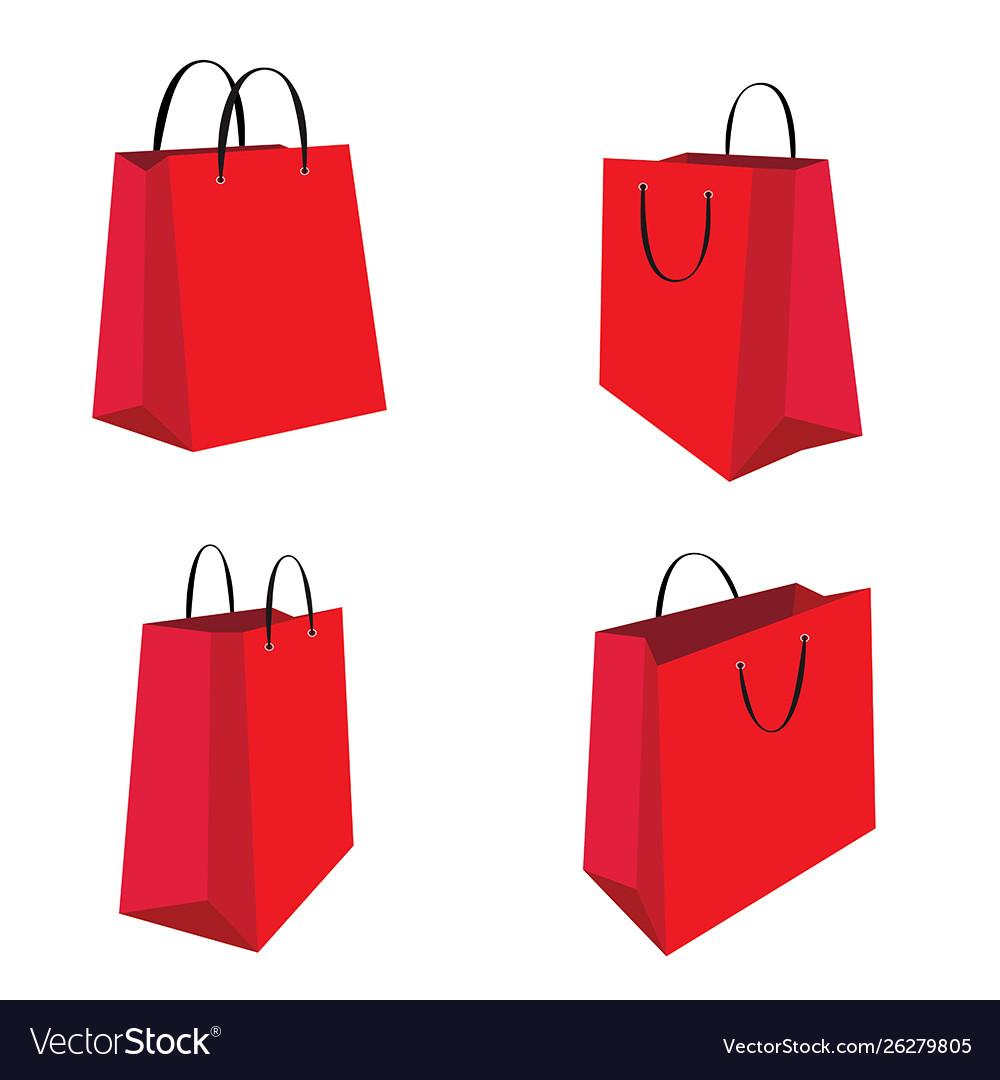 Red shopping bag set isolated on white background
