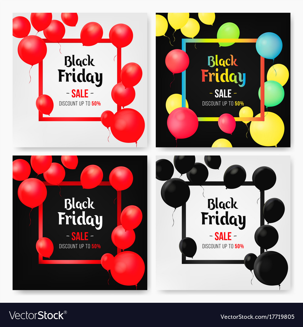 Set of mobile sale banners with shiny balloons