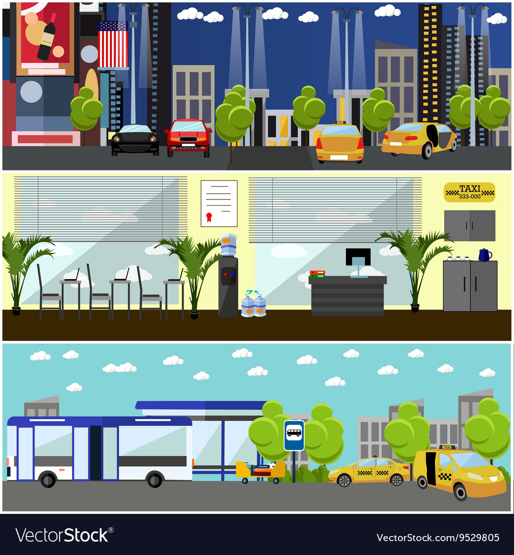 Set of taxi service company concept banners
