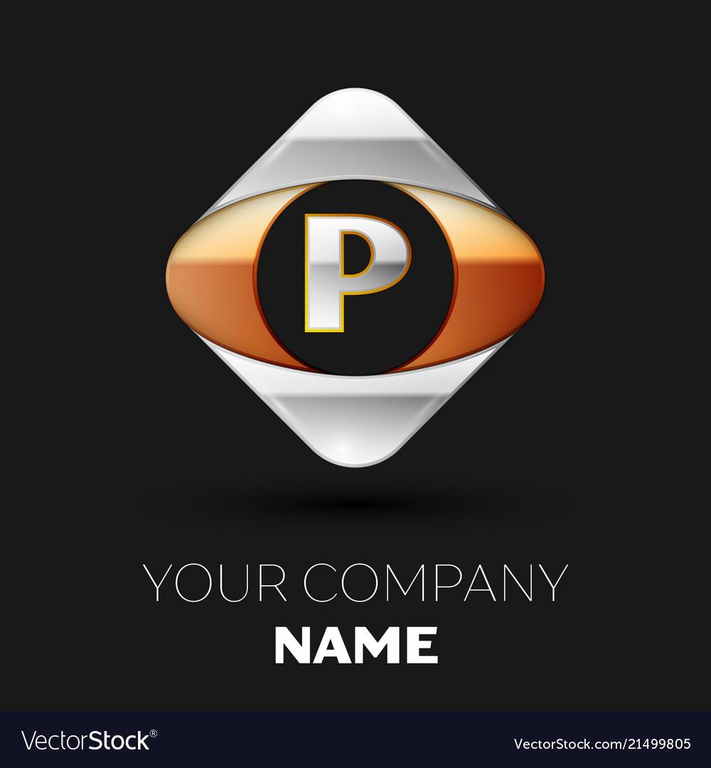 Silver letter p logo symbol in the square shape