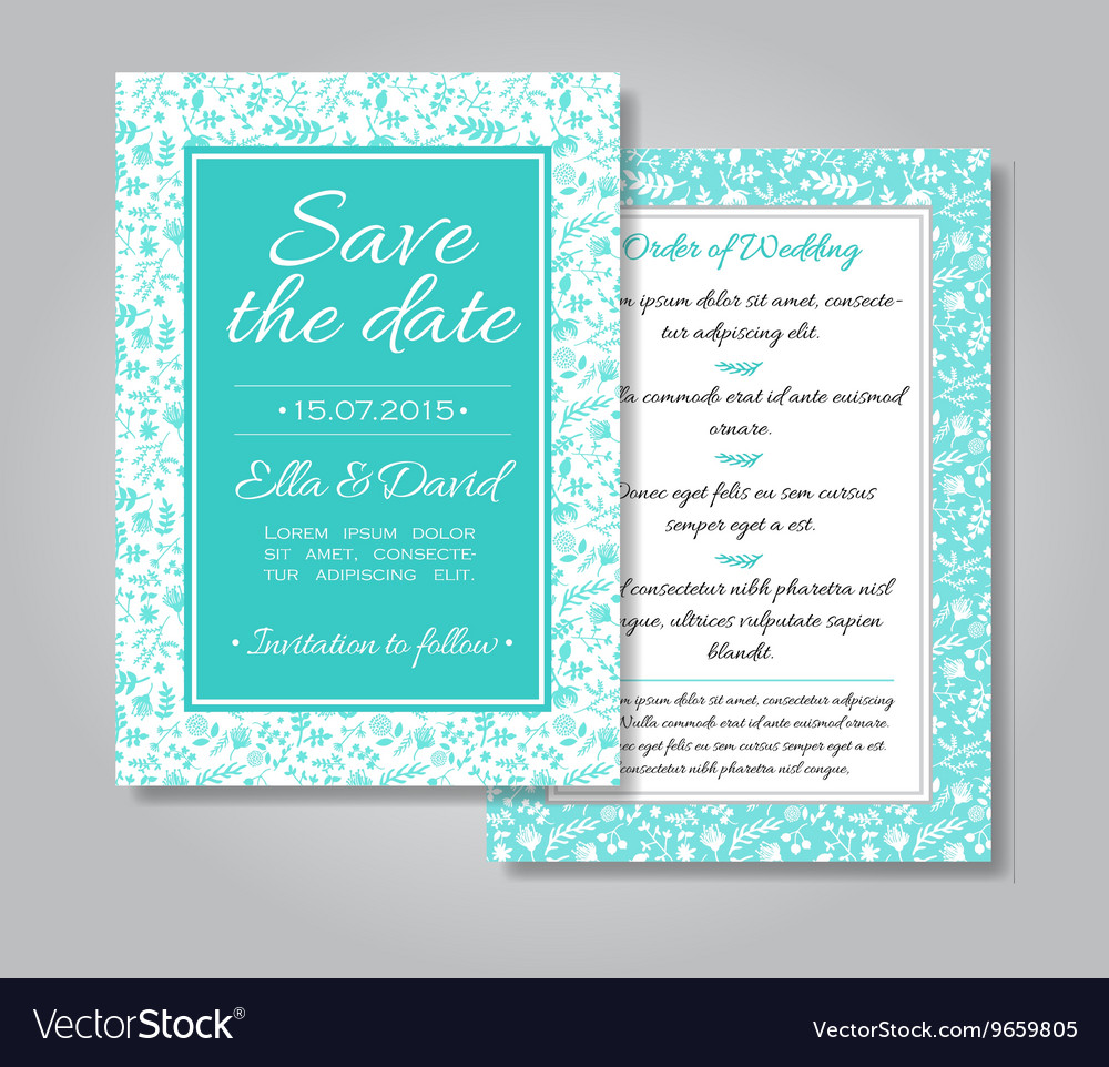 Wedding invitation card set with floral
