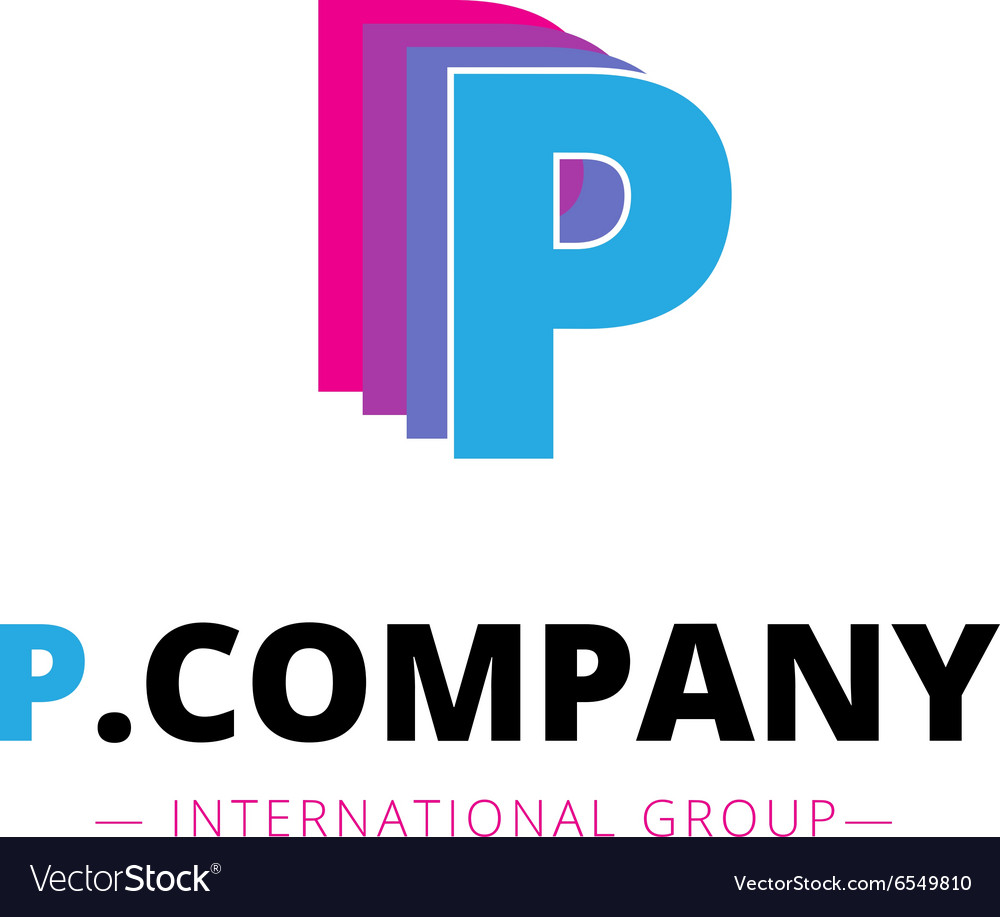 Abstract bright pink and blue P letter logo vector image