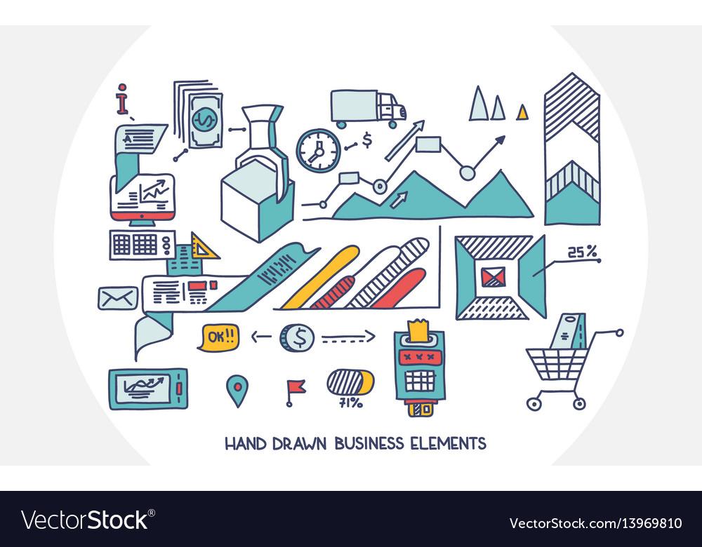 Bank business finance analytics earnings hand draw