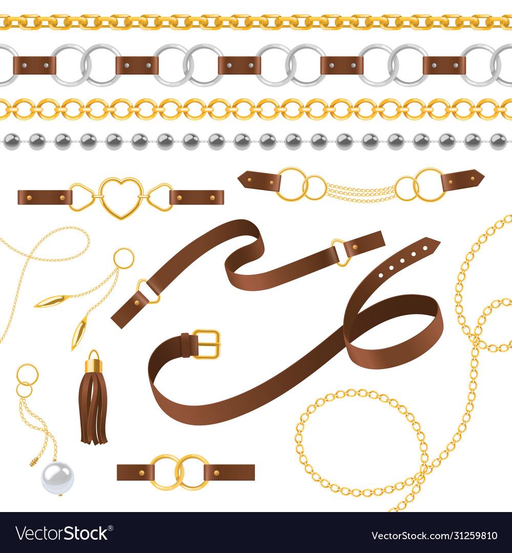 Belt elements braid pendants chain and bracelet