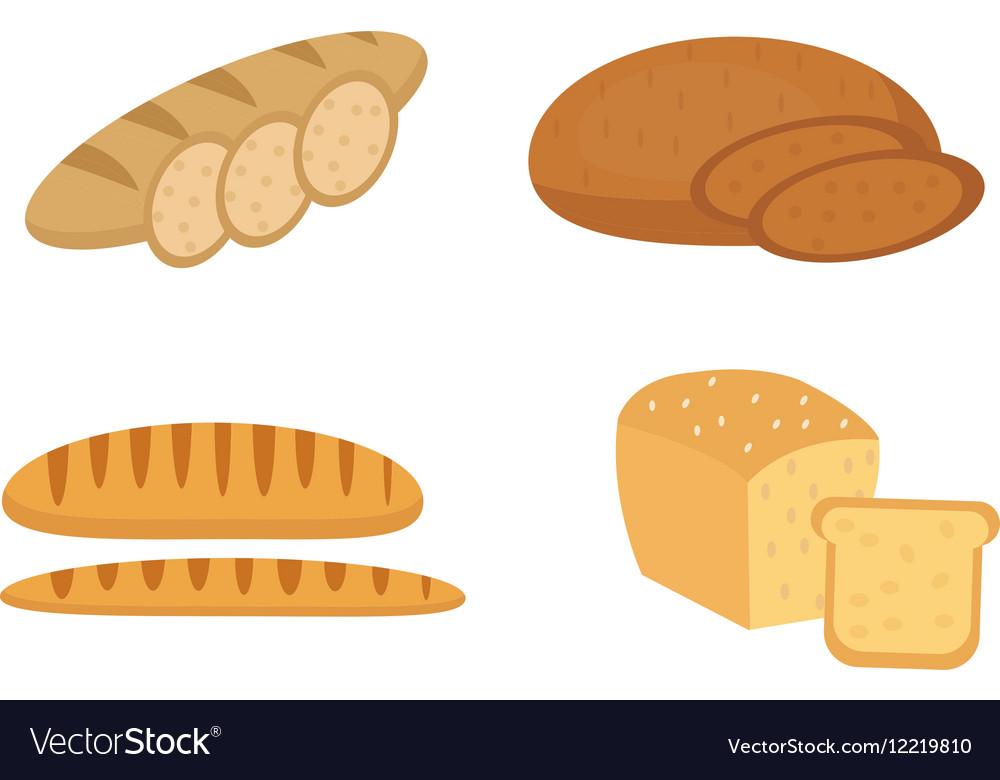 Bread baguette loaf set Bakery products