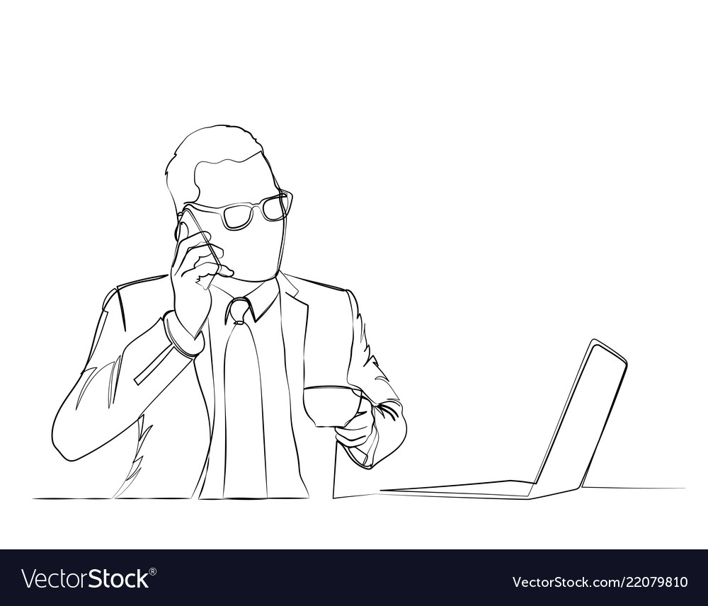 Businessman is using a computer