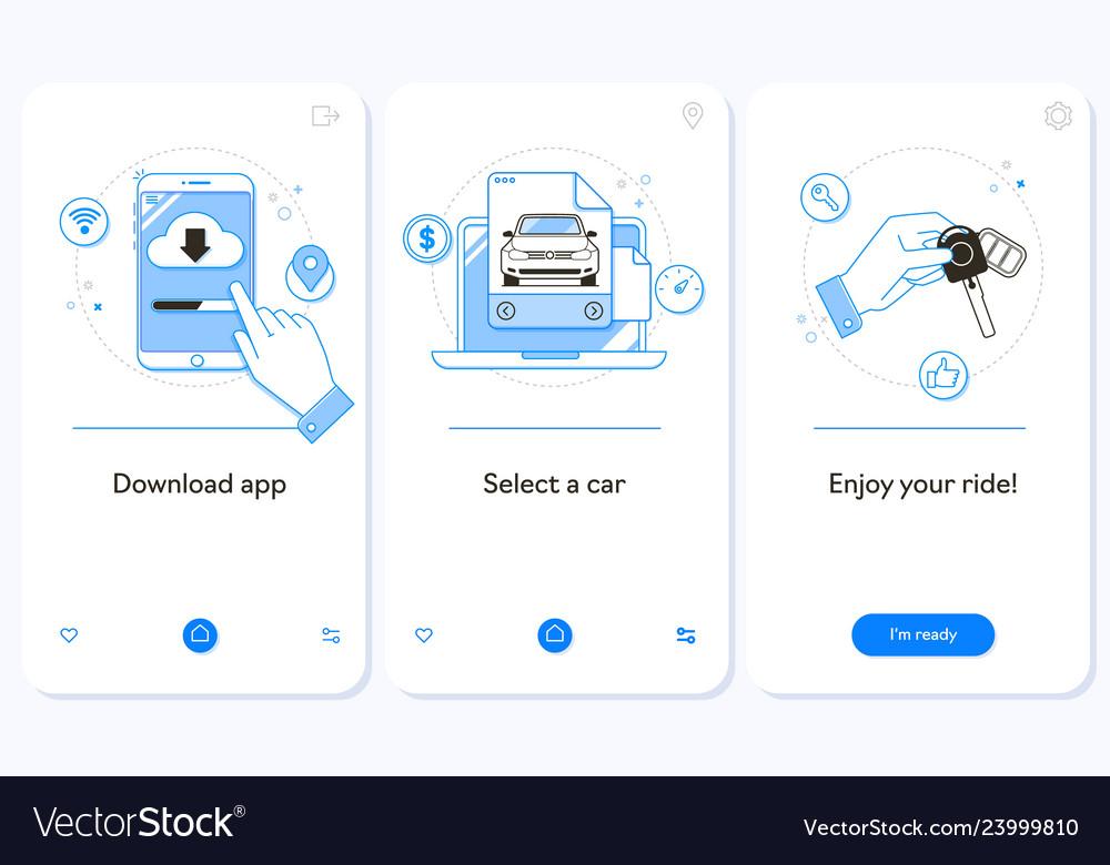 Car rental service onboarding mobile app page