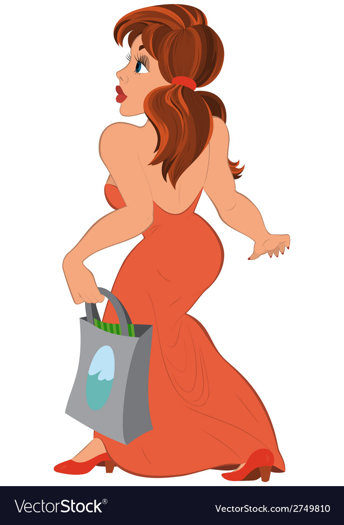 Cartoon girl in long red dress with bag side view