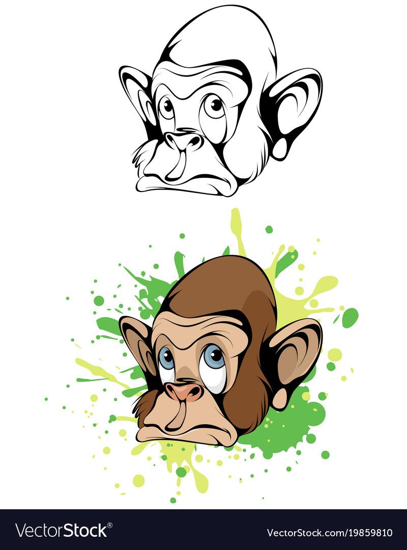 Cartoon head monkey