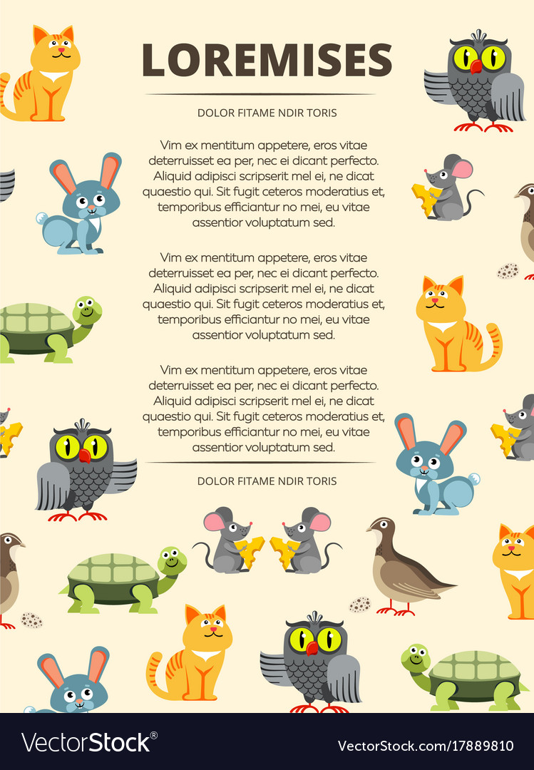 Children info banner with cute cartoon animals vector image