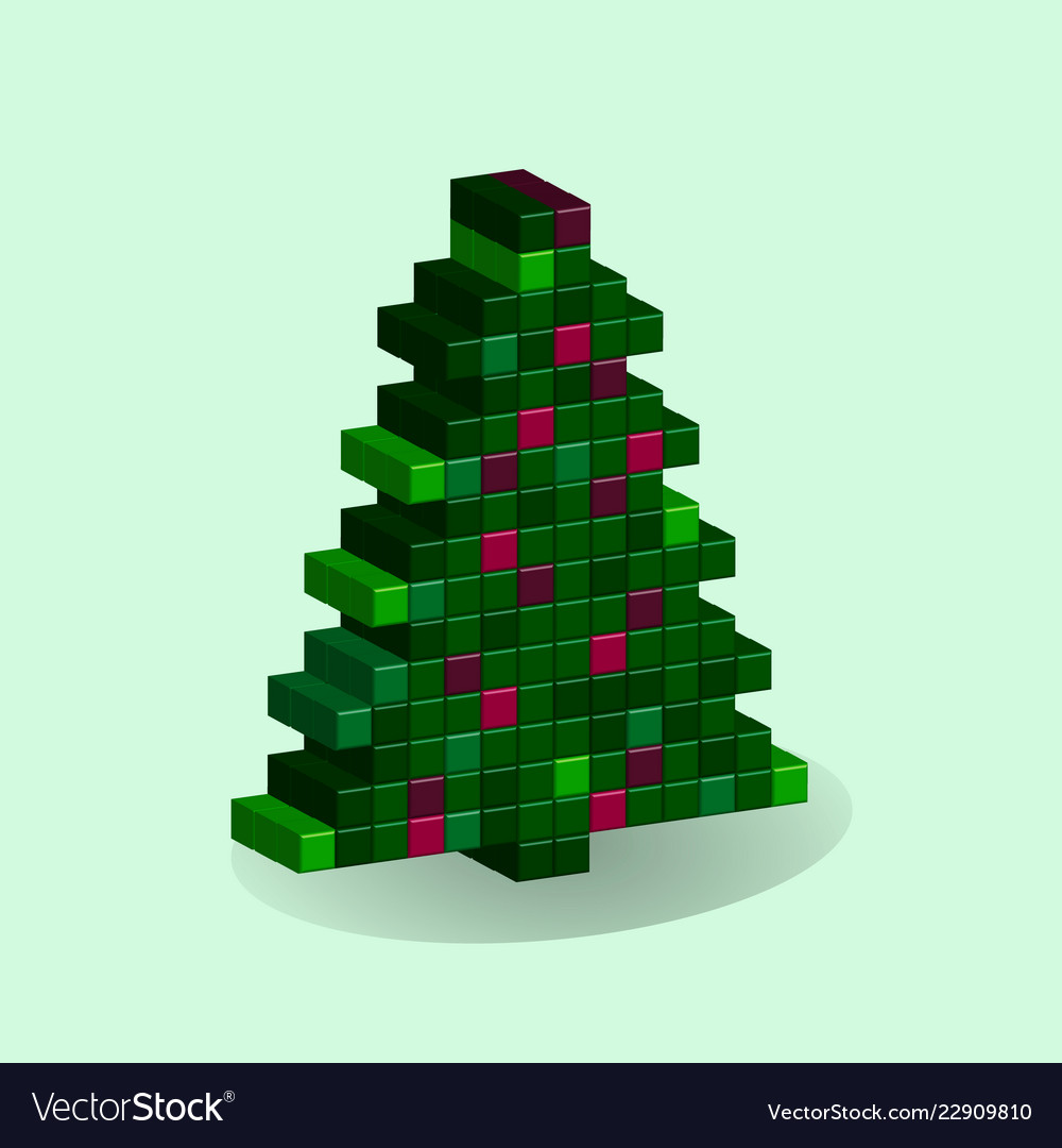 Christmas tree in style 3d pixel art ny Royalty Free Vector
