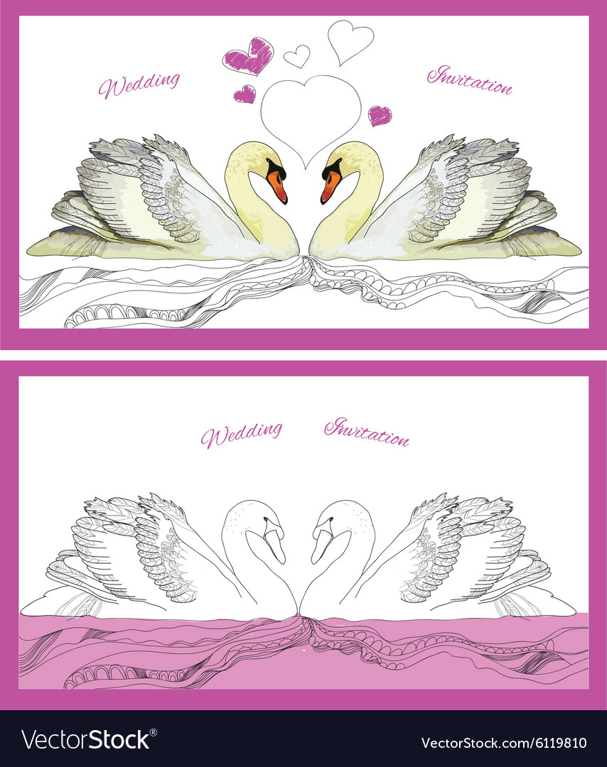 Couple decoration swans on waves