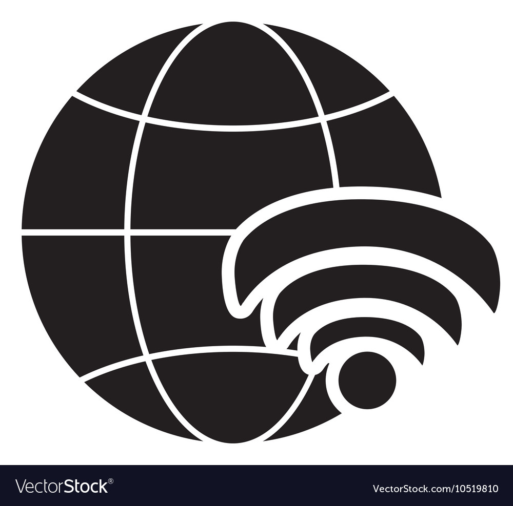 Wi Fi Diagram Icons Automotive Wiring Diagrams Wirelessrouterinstallation Earth Globe And Wifi Signal Icon Vector Image Home Design