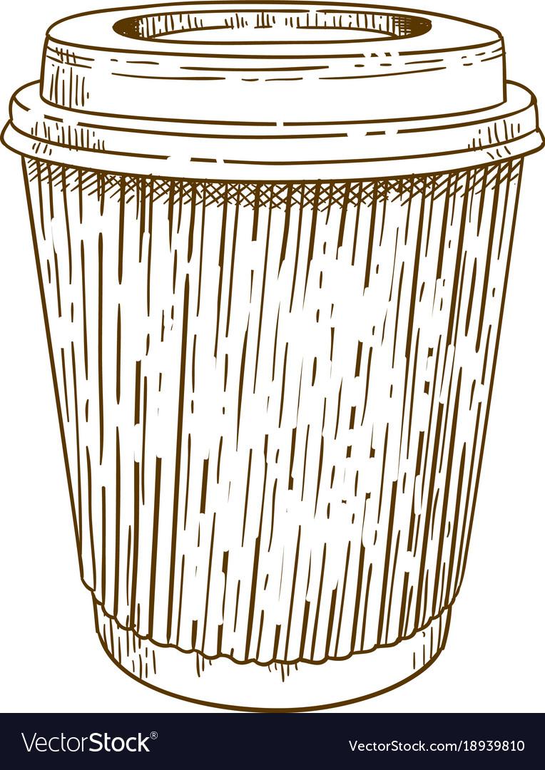 Engraving of takeaway cup vector image