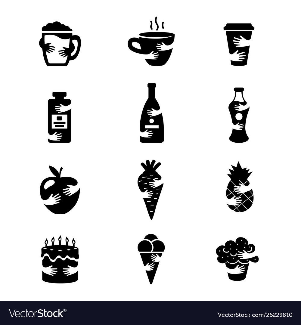 Food and drinks negative space icons set hot