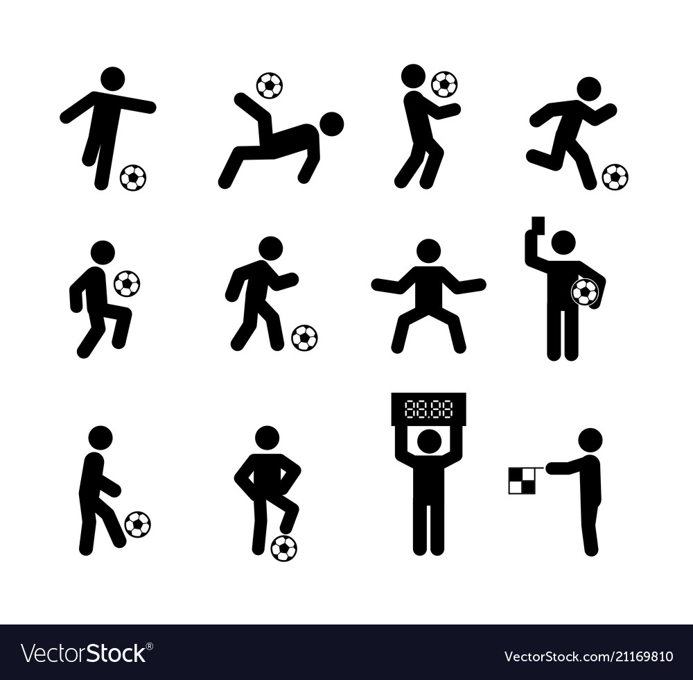 Football soccer player actions poses stick figure