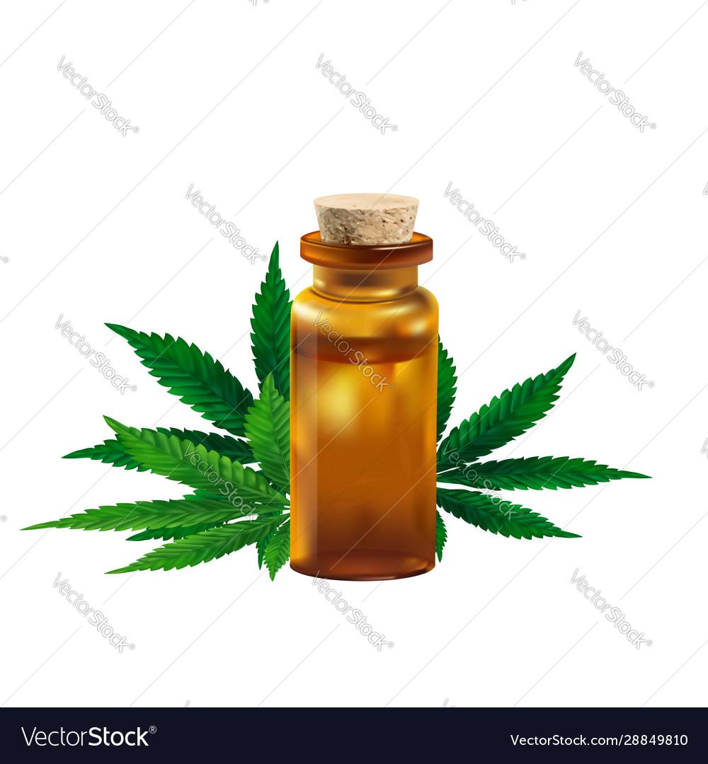 Hemp oil and cannabis leaf isolated on white