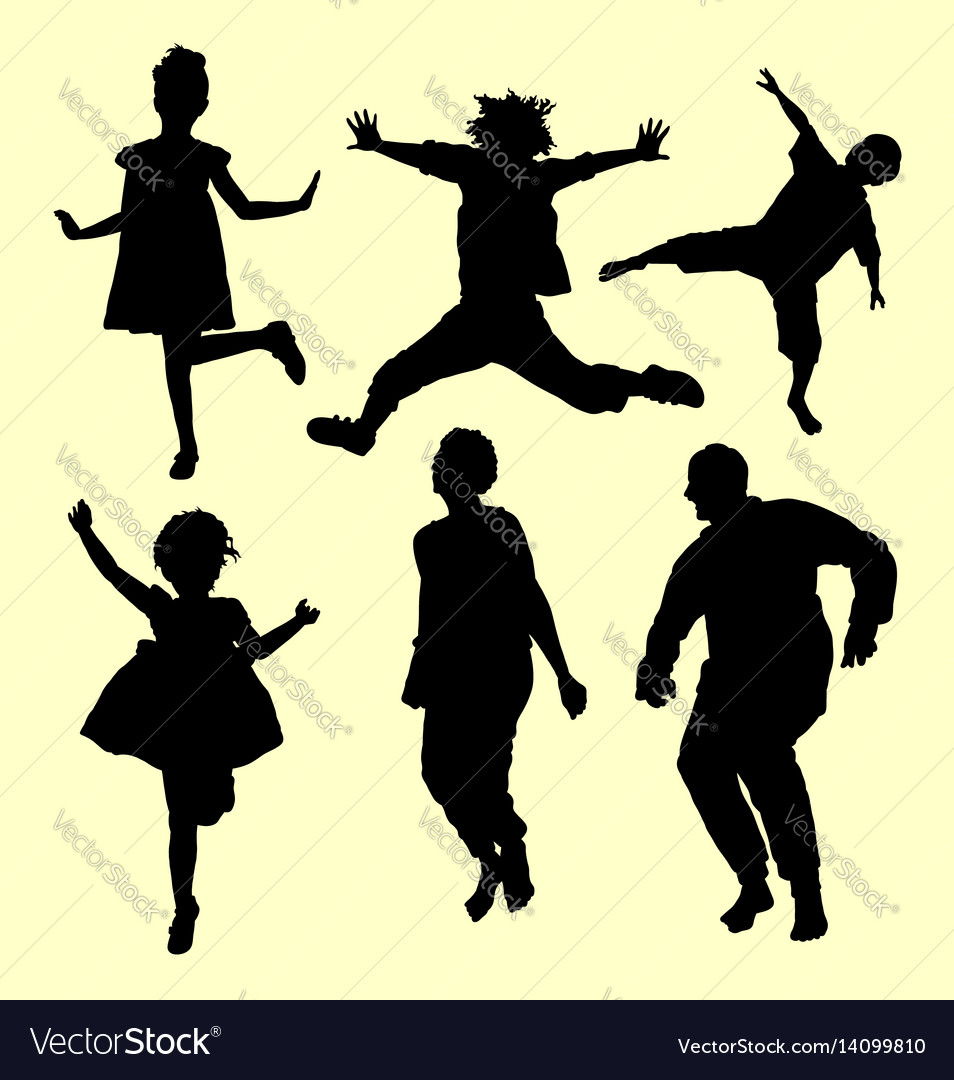 Jumping and sport people action silhouette vector image