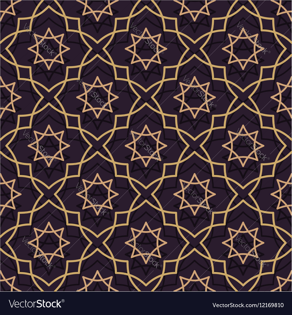 Oriental seamless pattern of purple and gold Thin