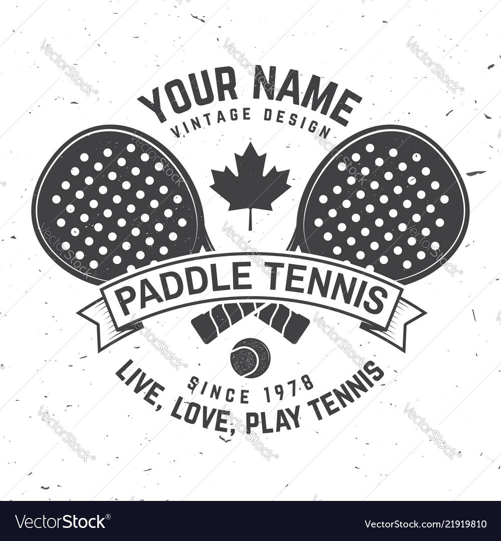 Paddle tennis badge emblem or sign