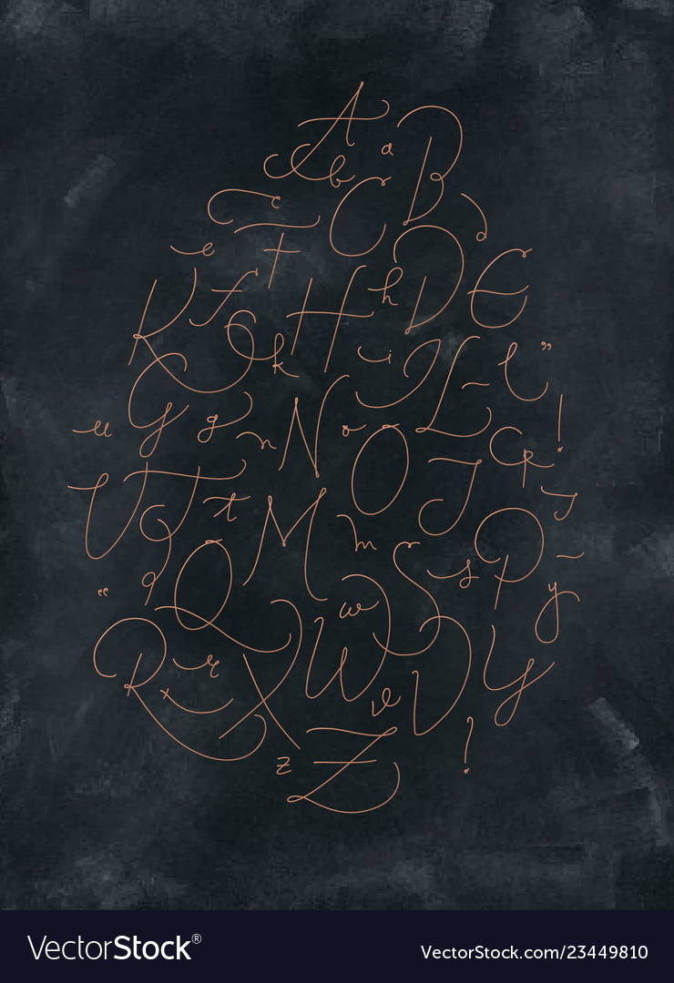 Pen line alphabet dark