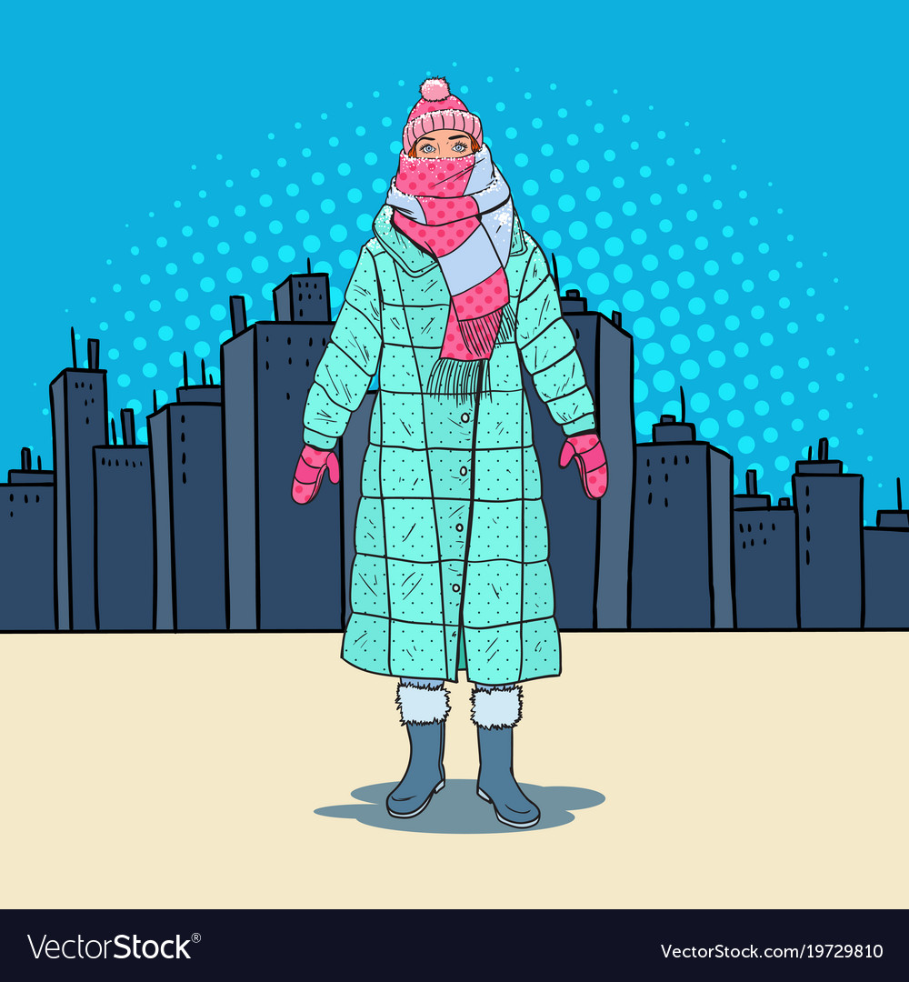 Pop art beautiful woman in warm winter clothes