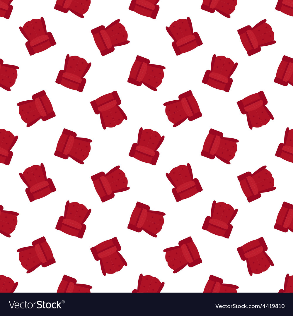 Red flat armchair seamless pattern