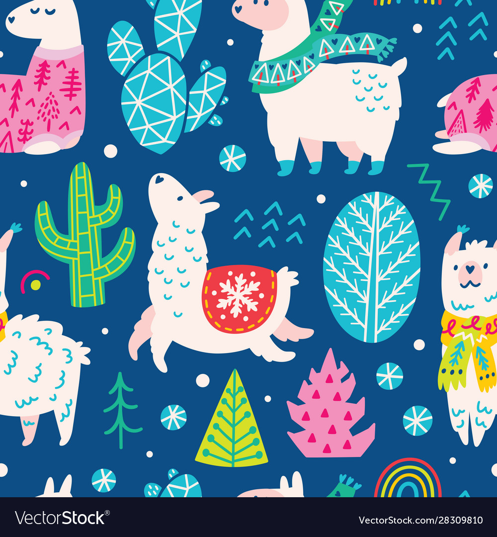 Seamless christmas pattern with cute cartoon