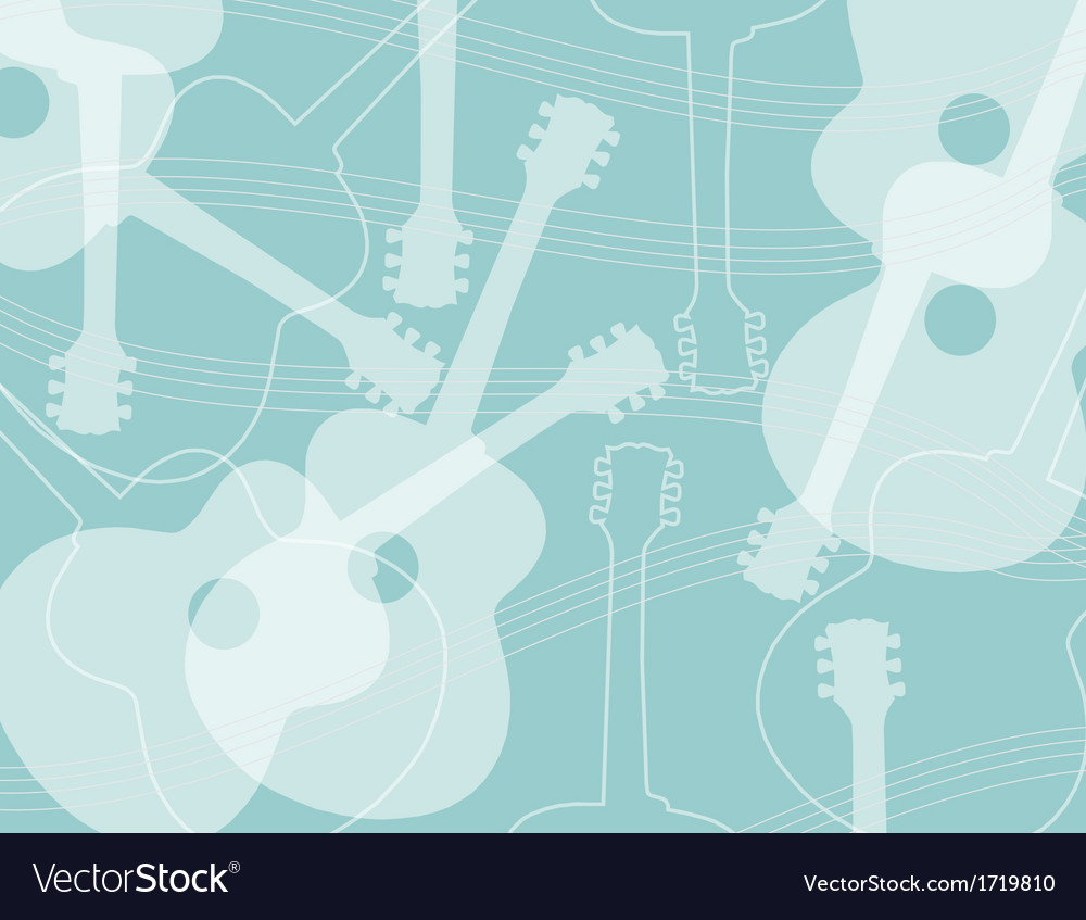 Seamless pattern with acoustic guitar silhouettes vector image