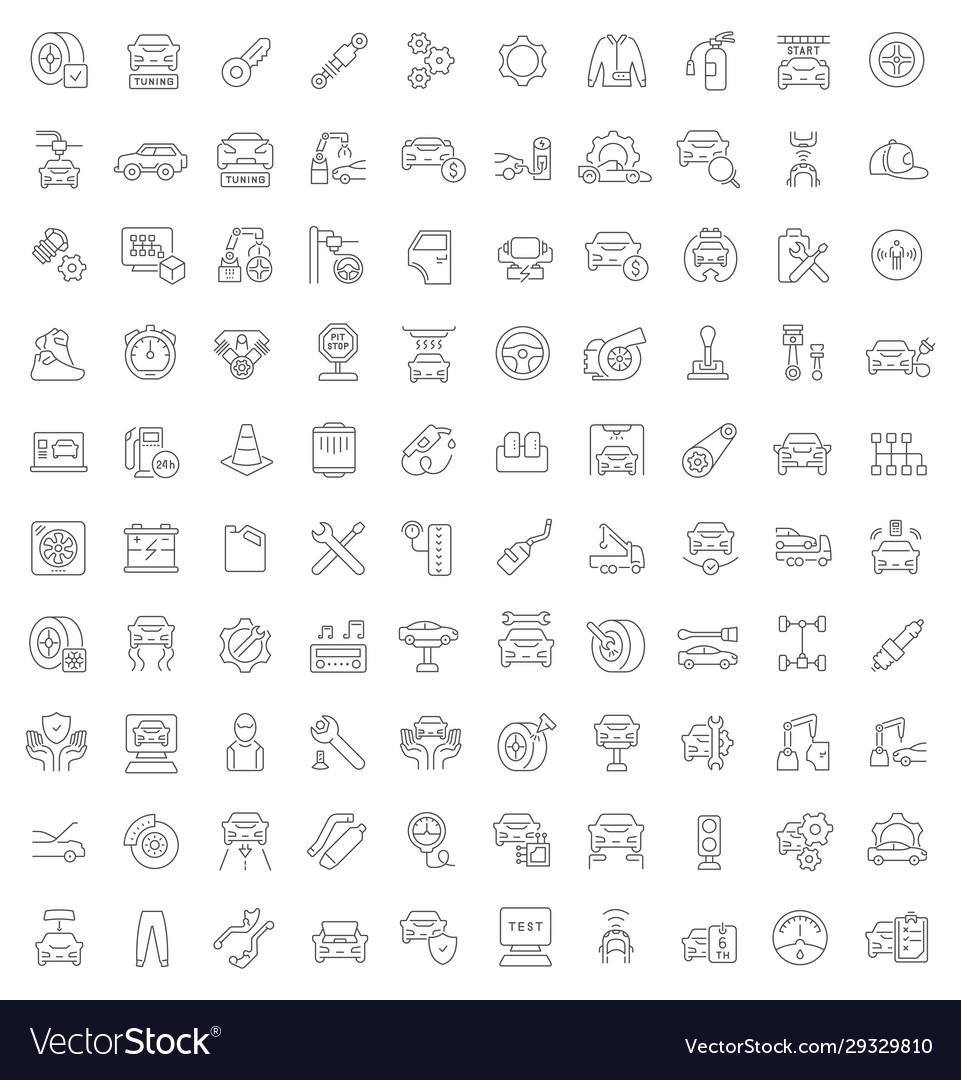 Set line icons car repair