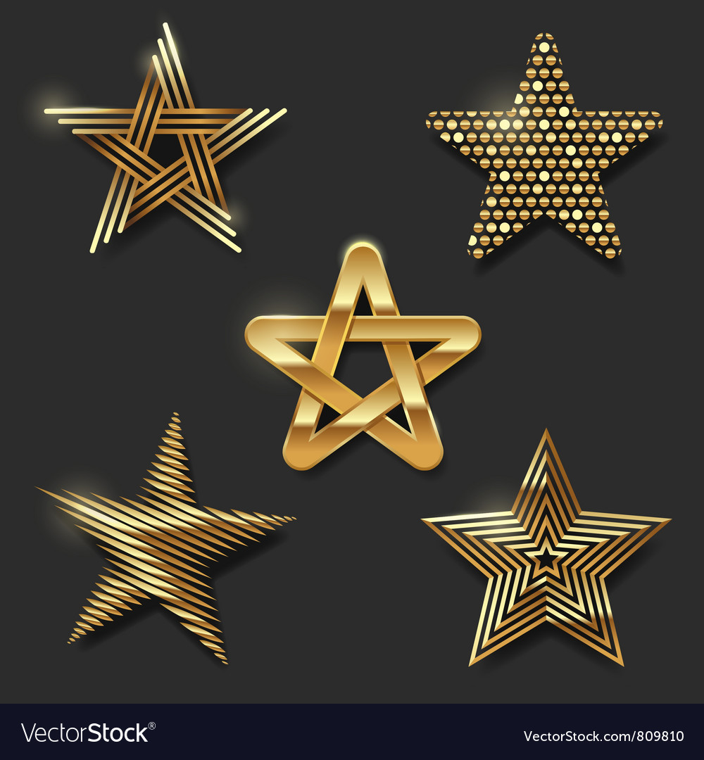 Set of golden decorative stars vector