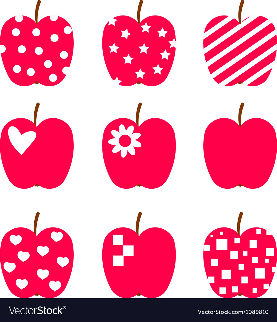 Set of red apples Stylized icons isolated on white