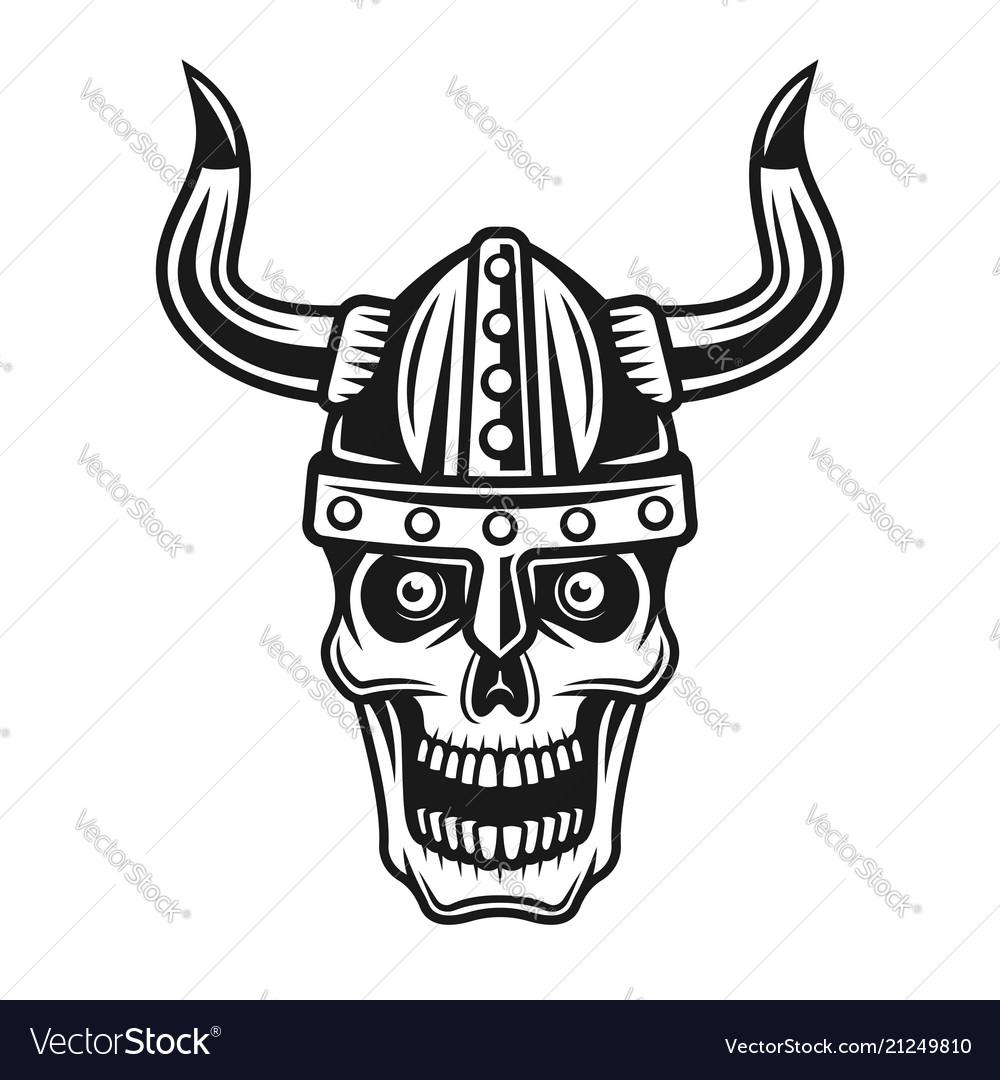 Skull of viking in horned protection helmet