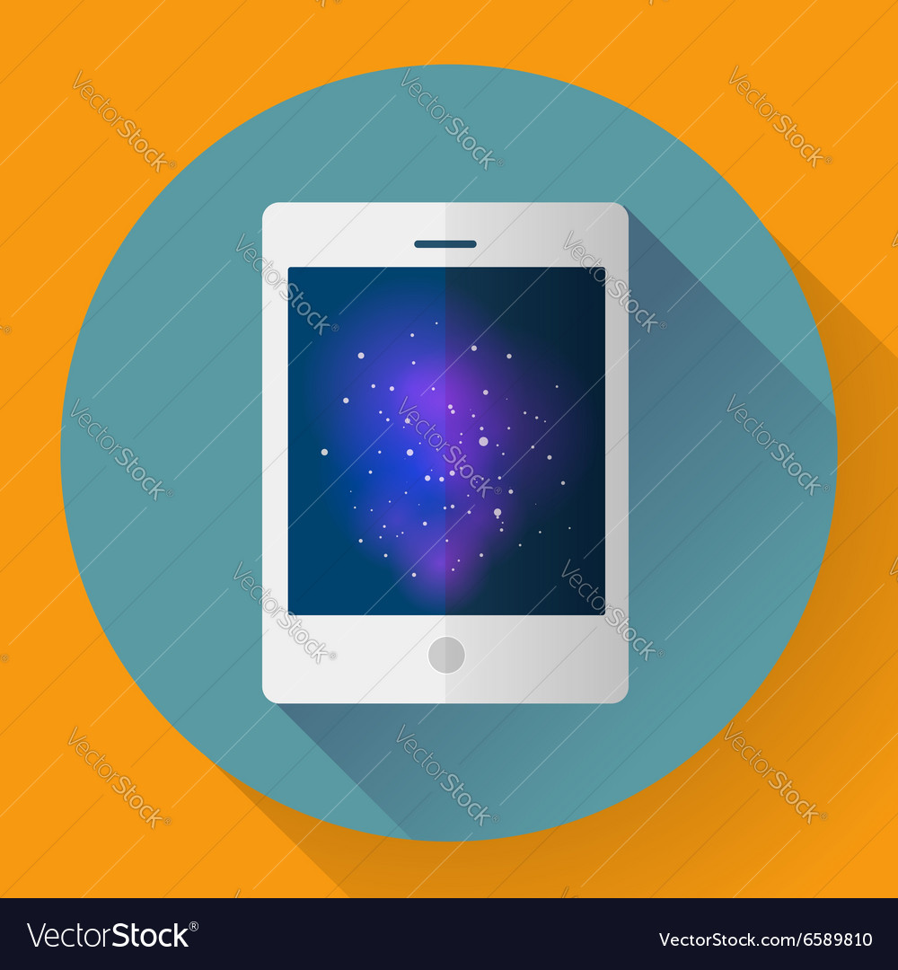 Tablet computer icon with space image Flat