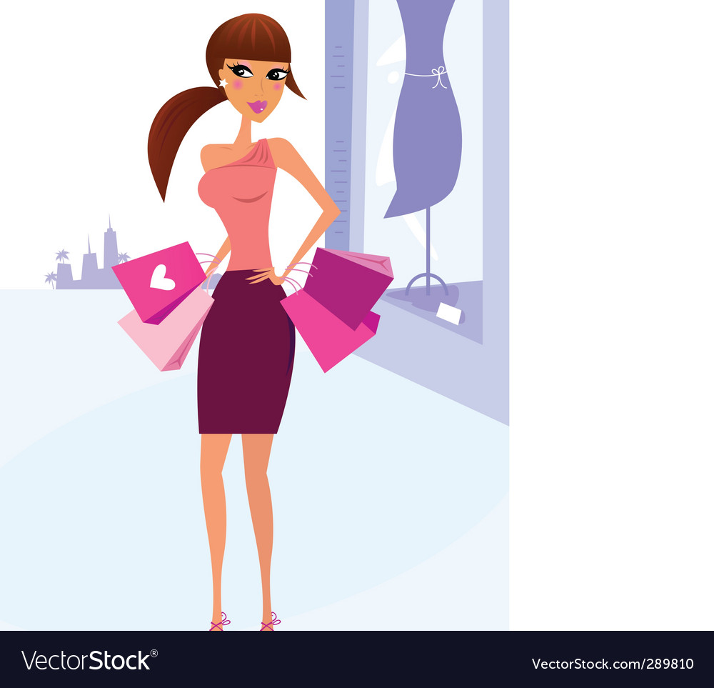 Woman shopping in the city vector image