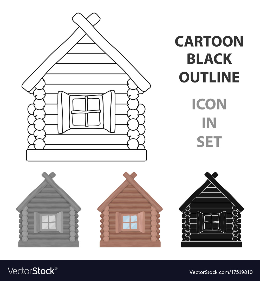 Wooden house icon in cartoon style isolated on