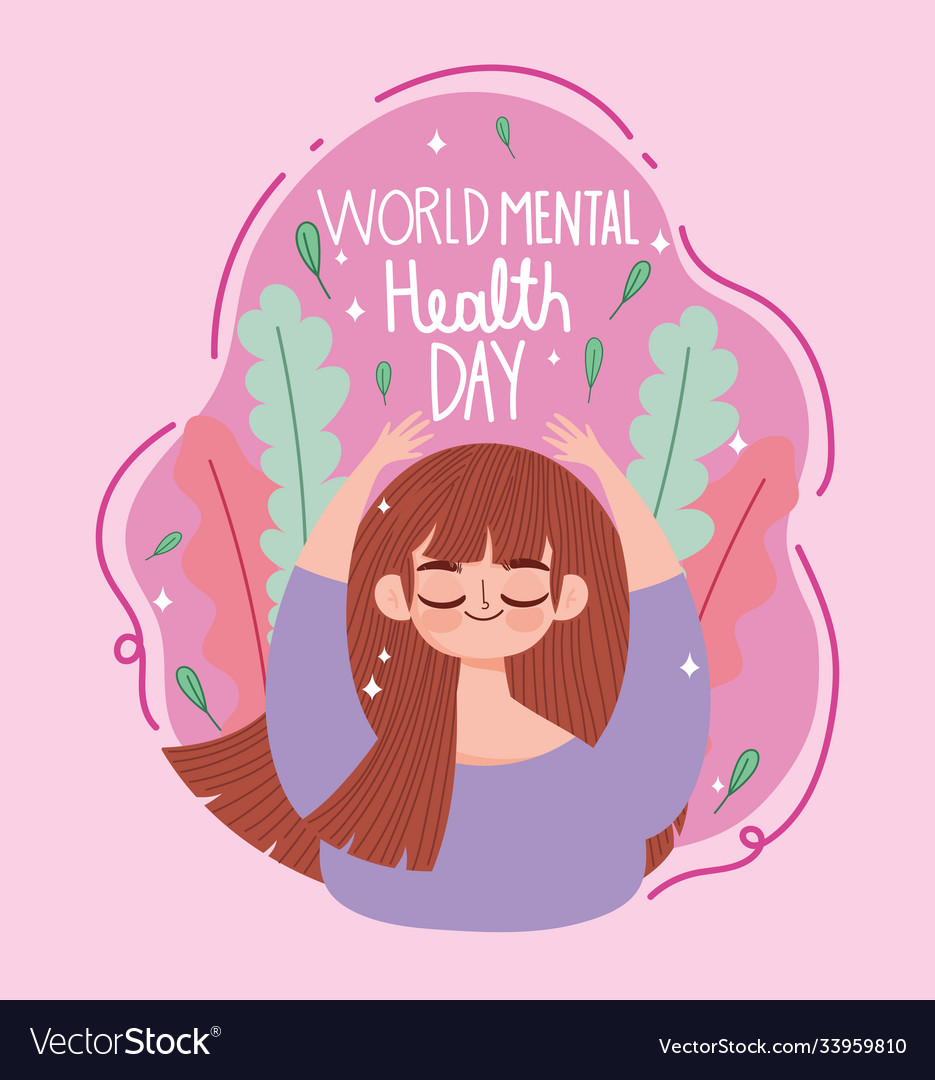 World mental health day young woman meditation