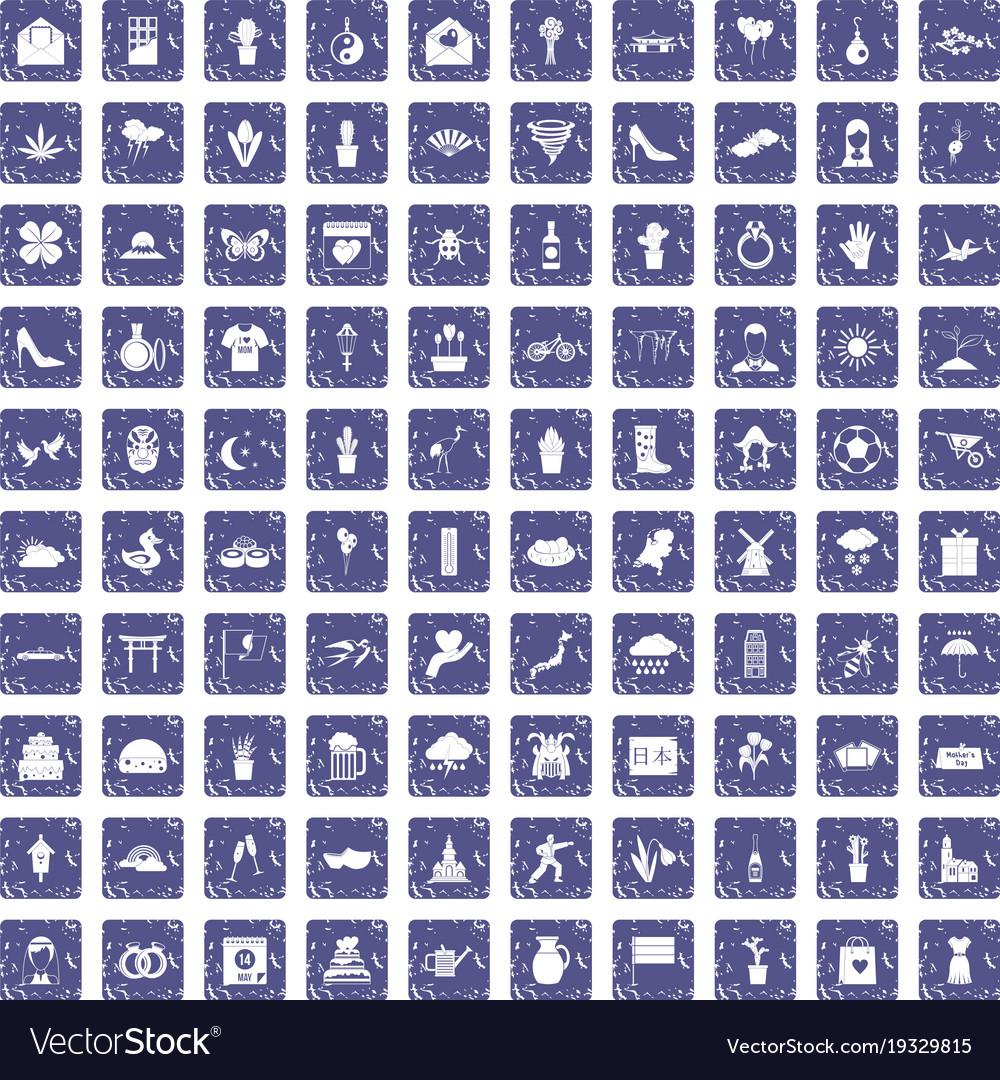 100 flowers icons set grunge sapphire