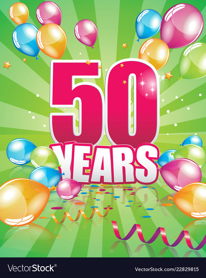 50 Years Birthday Card Vector Image