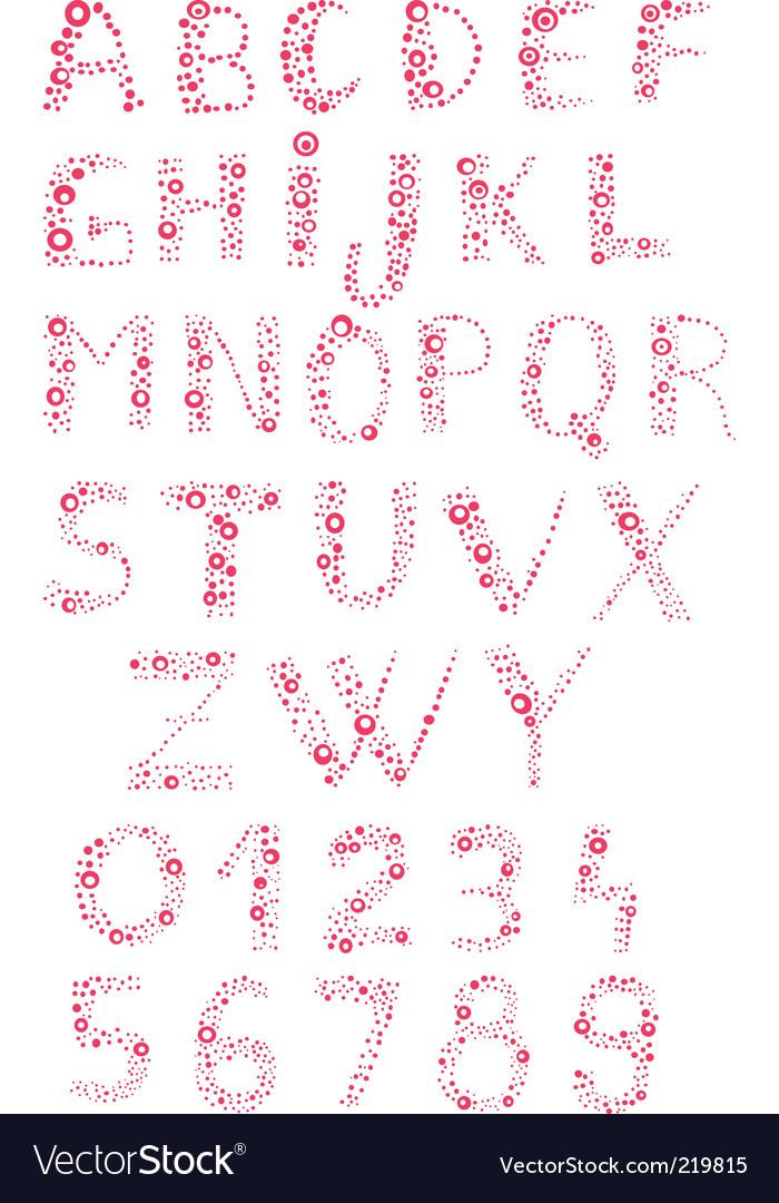 Bubbly alphabet vector image