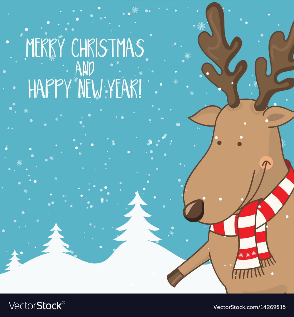 Cartoon for holiday theme with deer on winter