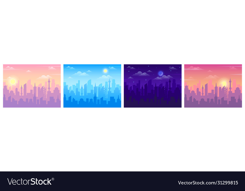 Daytime city view cityscape sunrise noon and