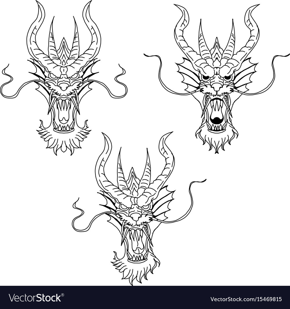 Dragon head tattoo vector image