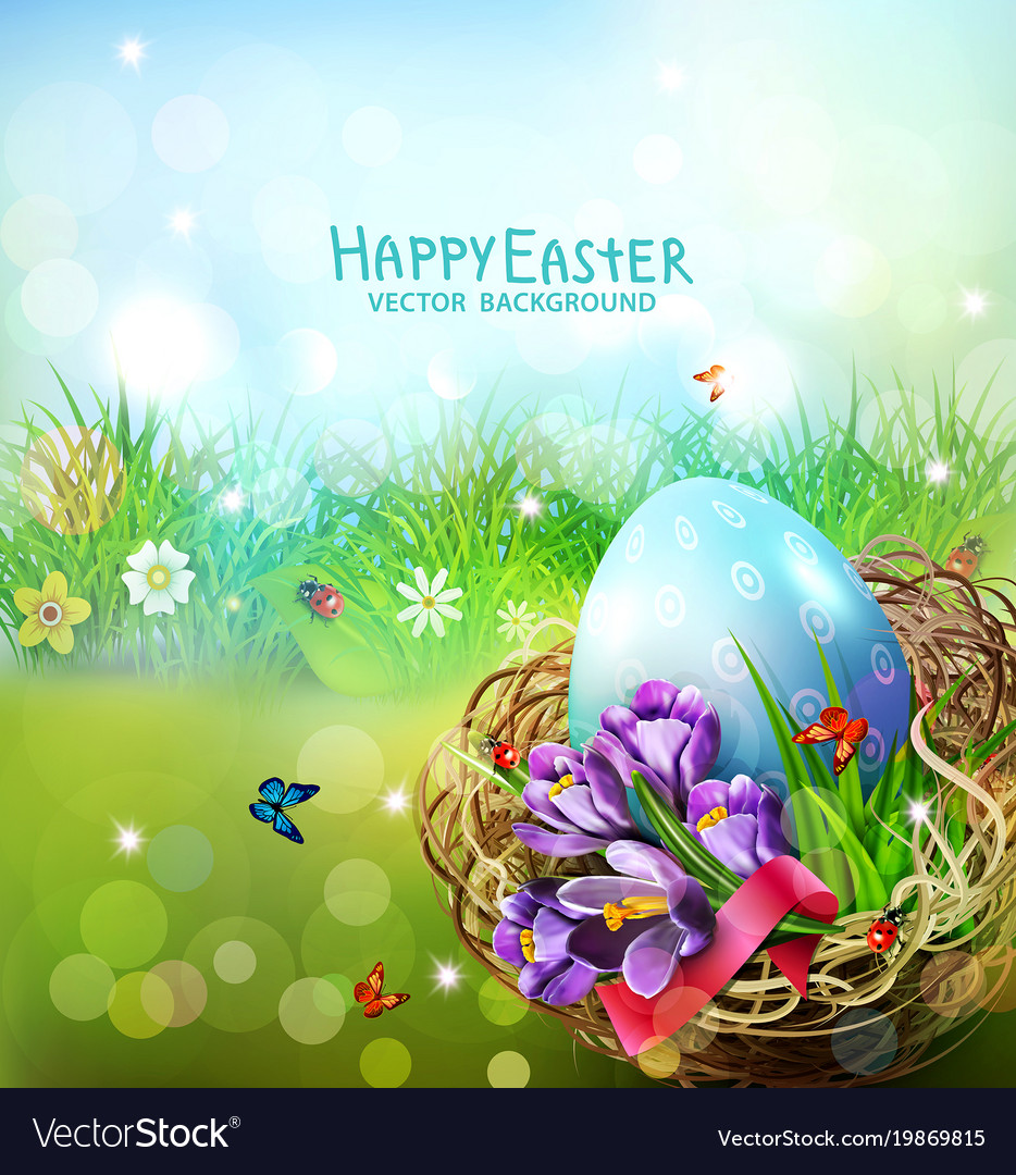 Easter card with colorful eggs and