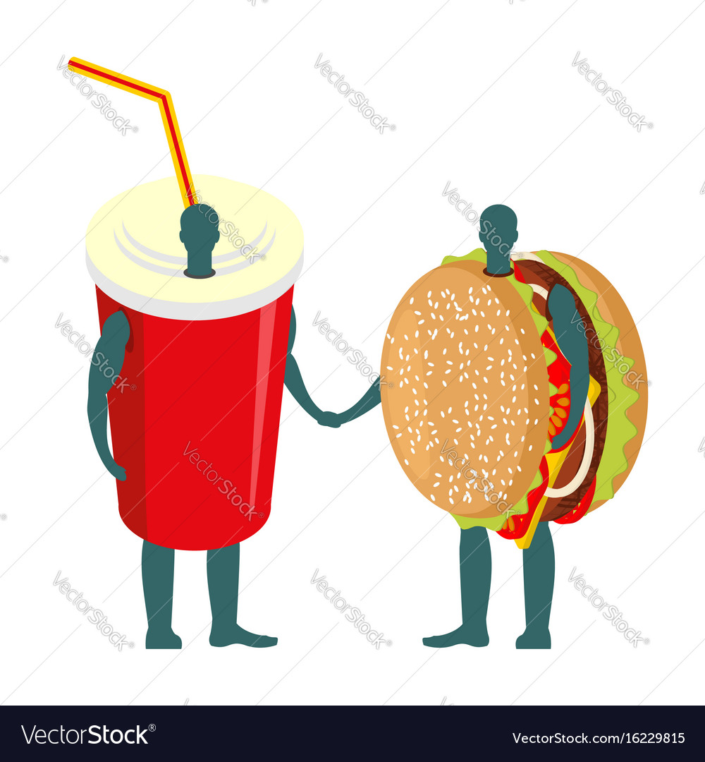 Fast food friends drink and hamburger beverage in vector image
