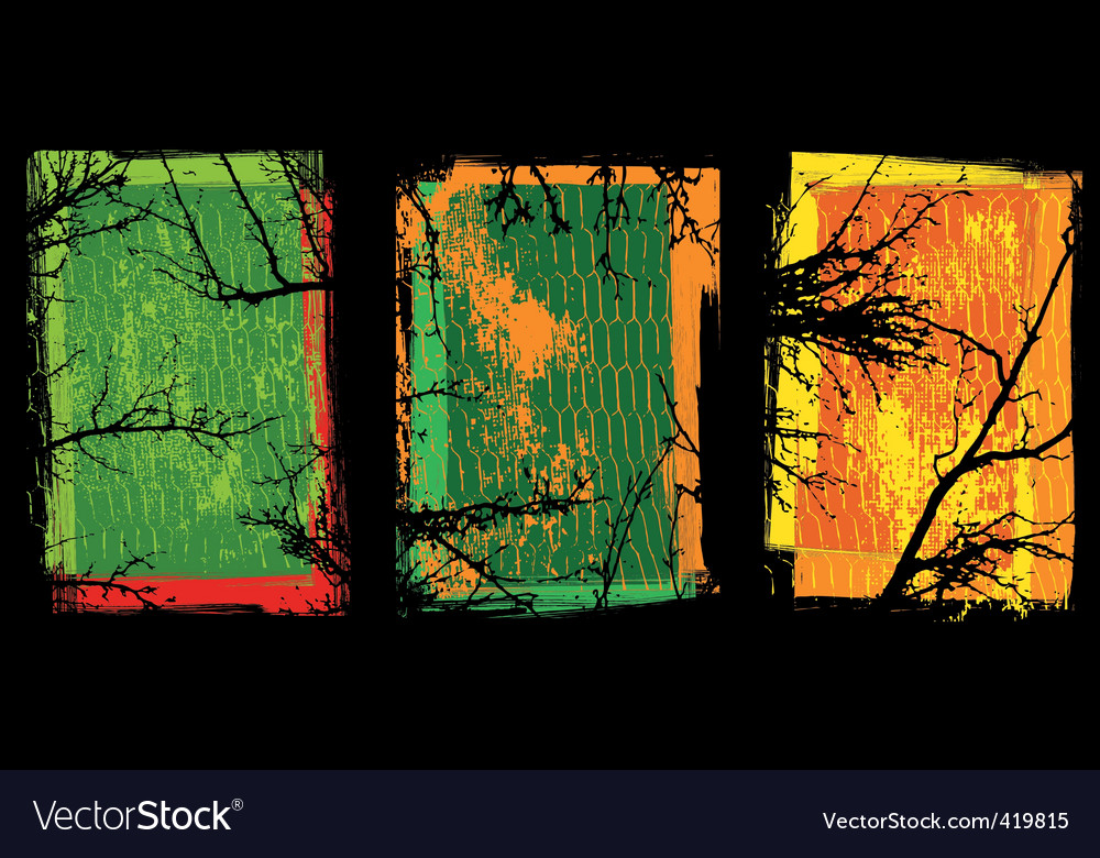 Grunge textures with trees vector image