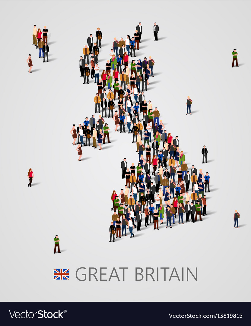 Large group of people in form of great britain map